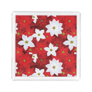 Red and White Holiday Background Acrylic Tray