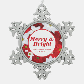 Red and White Holiday Background Snowflake Pewter Christmas Ornament