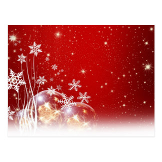 Red and White Holiday Christmas Bauble Design Postcard