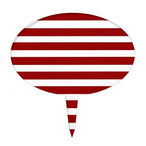 Red and White Horizontal Stripes Pattern Cake Picks