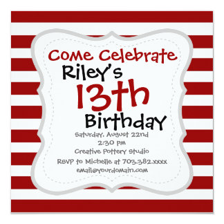 Red and White Horizontal Stripes Pattern Card