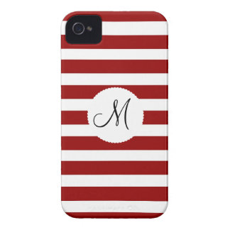 Red and White Horizontal Stripes Pattern iPhone 4 Case-Mate Case
