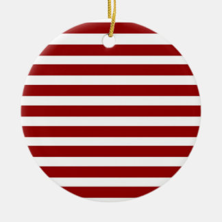 Red and White Horizontal Stripes Pattern Round Ceramic Decoration
