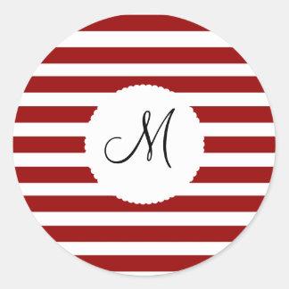 Red and White Horizontal Stripes Pattern Round Sticker