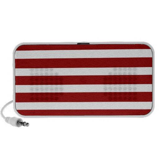 Red and White Horizontal Stripes Pattern Travel Speaker