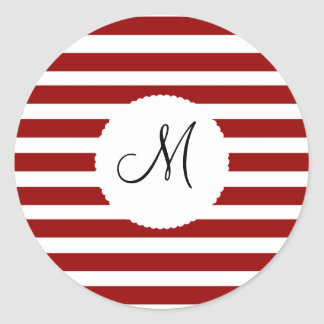 Red and White Horizontal Stripes Pattern Round Stickers
