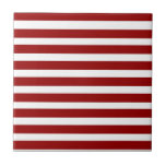 Red and White Horizontal Stripes Pattern Ceramic Tiles