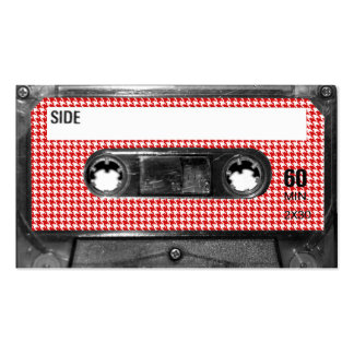 Red and White Houndstooth Label Cassette Business Cards