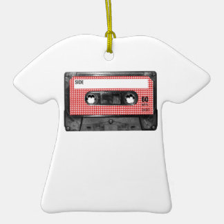 Red and White Houndstooth Label Cassette Christmas Ornaments