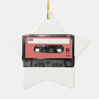 Red and White Houndstooth Label Cassette Ornament
