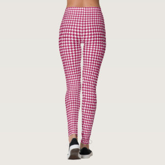 Red and White Houndstooth Leggings