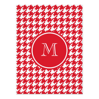 Red and White Houndstooth Your Monogram Personalized Invitations
