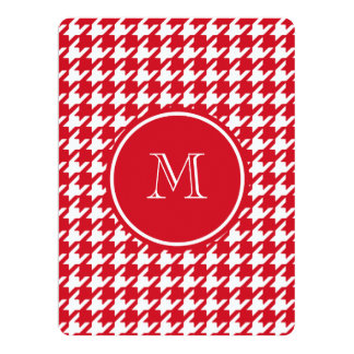 "Red and White Houndstooth Your Monogram 6.5"" X 8.75"" Invitation Card"