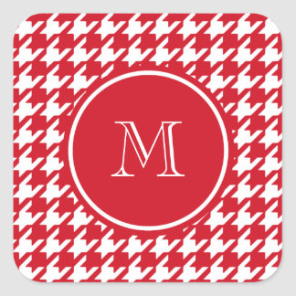 Red and White Houndstooth Your Monogram Square Sticker