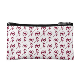 Red And White Hugs And Kisses Makeup Bags
