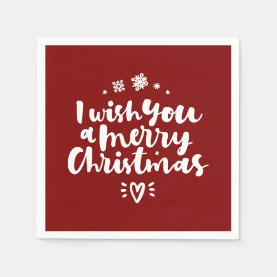 Red And White I Wish You A Merry Christmas Disposable Serviette