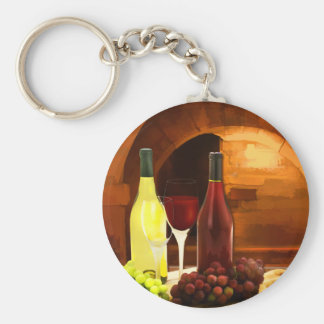 Red and White in the Cellar Basic Round Button Key Ring