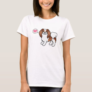 Red And White Japanese Chin And A Pink Heart T-Shirt