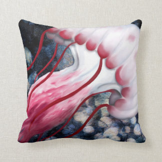 Red and White Jellyfish Reversible Pillow