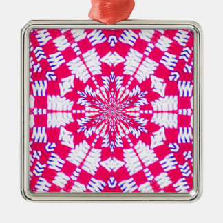 Red and white kaleidoscope design christmas ornament