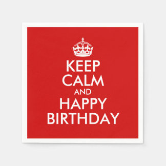 Red and White Keep Calm and Happy Birthday Disposable Serviette