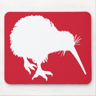 Red and White Kiwi Silhouette Mouse Mat