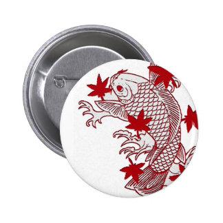 Red and White Koi 6 Cm Round Badge