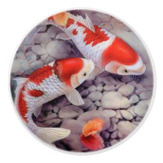 Red and White Koi Fish Pond Ceramic Knob
