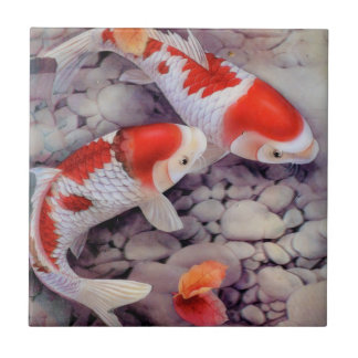 Red and White Koi Fish Pond Tile