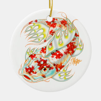 Red and White Koi Ornament