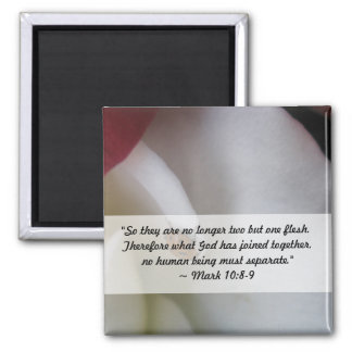 Red and White Ladybug Petals Wedding Square Magnet
