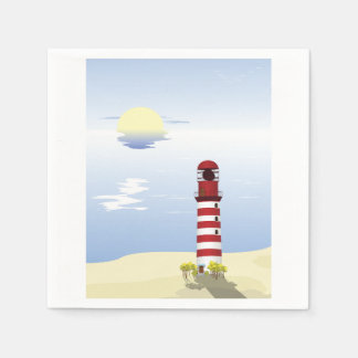 Red And White Lighthouse Paper Napkins
