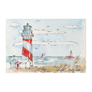 Red and White Lighthouse Scene Acrylic Print