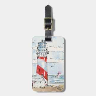 Red and White Lighthouse Scene Luggage Tag