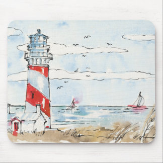 Red and White Lighthouse Scene Mouse Mat