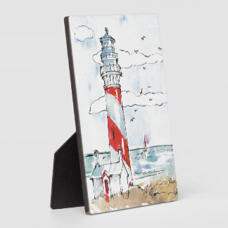 Red and White Lighthouse Scene Photo Plaque