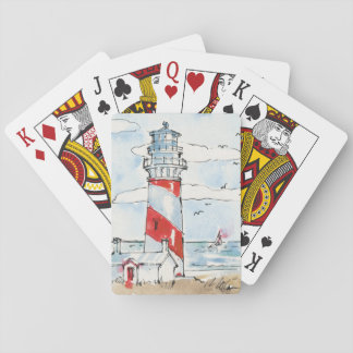 Red and White Lighthouse Scene Playing Cards