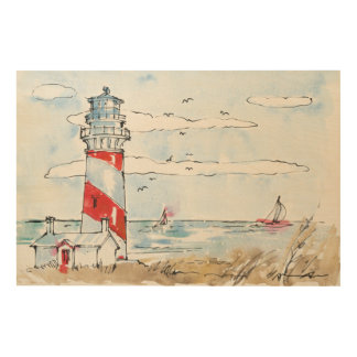 Red and White Lighthouse Scene Wood Wall Decor