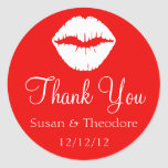 Red and White Lips Thank You Round Sticker