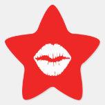 Red and White Lipstick Star Sticker