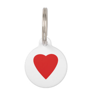 Red and White Love Heart Design. Pet Tag