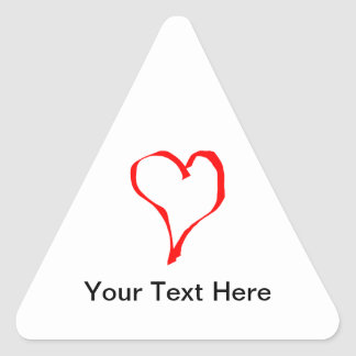 Red and White Love Heart Design. Triangle Sticker