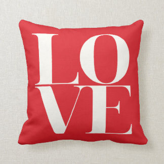 Red and White LOVE Valentine's Day Pillow