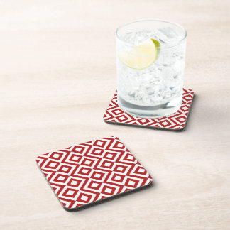 Red and White Meander Beverage Coaster