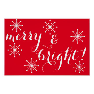 Red and White Merry and Bright! Poster