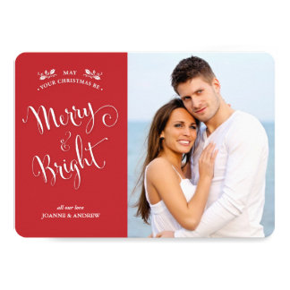Red and White Merry & Bright Christmas Photo Card