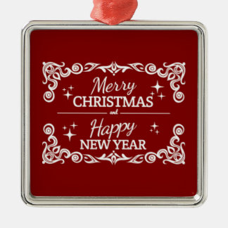 Red And White Merry Christmas And Happy New Year Christmas Ornament