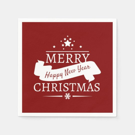 Red And White Merry Christmas And Happy New Year Disposable Napkin