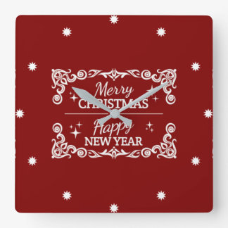 Red And White Merry Christmas And Happy New Year Square Wall Clock