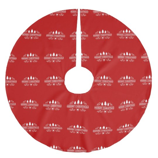 Red And White Merry Christmas Brushed Polyester Tree Skirt